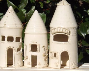 3 Holiday Mantel Houses in Ceramic