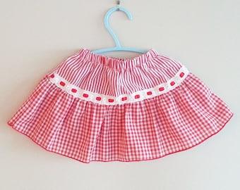 Baby Skirt- Toddler Vintage Skirt- Cute Skirt- Red Plaid Skirt- Girls Skirt- 6 months Baby Clothes- 9 months Baby Clothes- Little Red- Lace