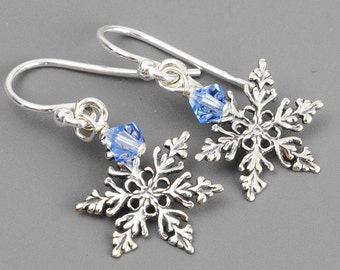Sterling Silver Snowflake Earrings - Winter Wedding Earrings - Swarovski Crystal Drop Earrings - Snowflake Jewelry - Winter Jewelry