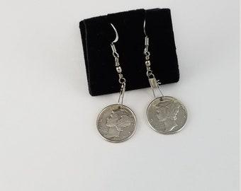 Fantastic silver mercury dime earrings 1943 silver dime jewelry PR3445