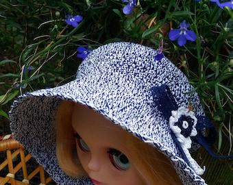 BLYTHE HAT - dark blue & white melange