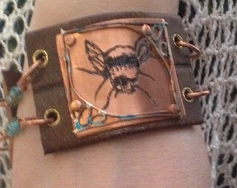 Bee Leather Cuff Bracelet  | bumble bee cuff | Handmade Jewelry | Leather Jewelry | Leather Cuff | Jewelry | Boho Cuff | Boho Jewelry