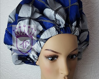 Ankara satin bonnet with comfortable fit for natural and all hair type