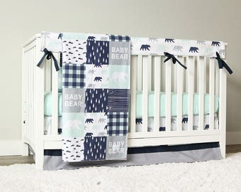 nursery peach boy crib bedding green baby blue bed little llama set