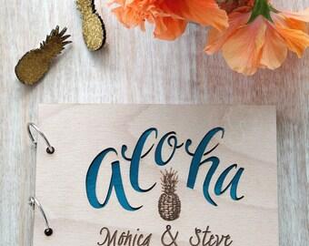 Aloha Hawaiian wedding guest book, Pineapple tropical destination wedding guestbook