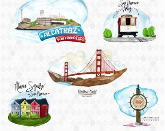 San Francisco, California Clipart, Watercolor Digital Clip Art, Travel Clip-art, Golden Gate Bridge, Trolley, Alcatraz, Alamo Square