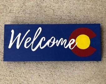 Colorado Sign, Colorado Gifts, Colorado Art, Colorado Flag, Colorado Welcome Sign, Colorado Wooden Sign, Welcome Sign, Wooden Welcome Sign