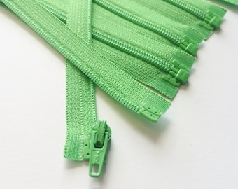 YKK Separating Zippers- Med-Lightweight 3mm Coil Zippers- 5pcs- Spring Green 536- Available in 6,7,8,10 and 14 inches