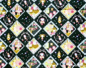 Kawaii Japanese Fabric - Cute Girls on Black - Fat Quarter (ca0913)