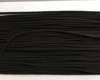 Black braided cotton cord