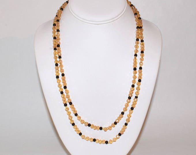Layerable Gold and Black Beaded Necklace- crafted by Nepalese human trafficking victims