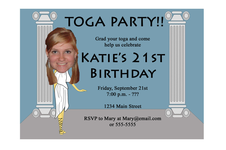 Toga party invitation funny unique digital printable great zoom stopboris Images