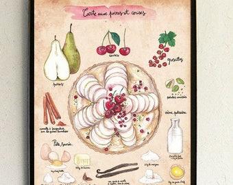 "Recipe illustration - Illustrated recipe - Kitchen Wall decor - Food art - Kitchen art - Cherry - Pear - ""Pear and Cherry Pie"""
