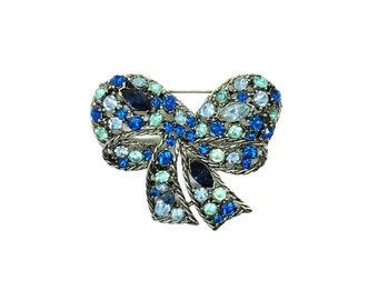 Vintage 1960s Brooch | Weiss Brooch | Blue Brooch | Vintage Pin | Bow Brooch | Blue Brooch | Large Brooch | Bow Pin | Designer Brooch