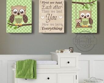 Owl Canvas Art, First we had you , Owl Decor, Art for children Owls, Nursery Art, Set of 3 Nursery Canvas Art,Baby Boys Room Art Print