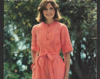 1980s Dress Pattern Bias Yoke Short Sleeve Flared Dress Vintage Sewing Pattern Butterick See Sew 5573 Plus Size 18 Bust 40 UNCUT
