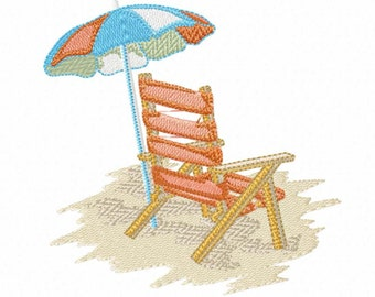 Beach Chair with Umbrella on a Beach Machine Embroidery Design 3 Sizes - Instant Digital Download