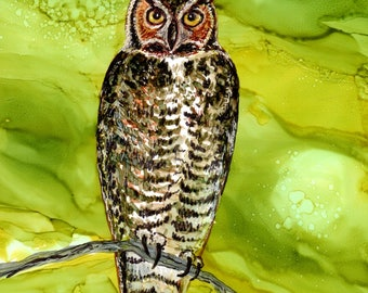Owl art, owl painting, owl alcohol ink painting- Owl art- Great Horned Owl - print after original alcohol ink, 5 x 7, prints, gift for her