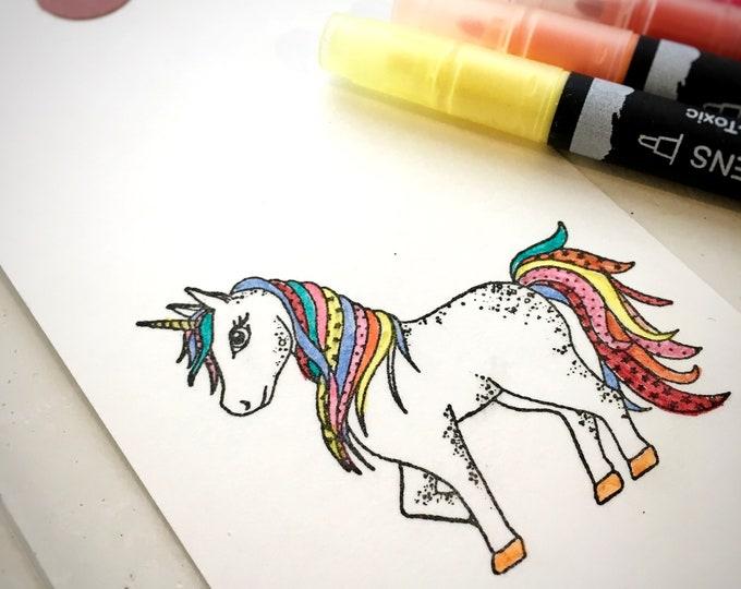 Unicorn Clear Rubber Stamp - Unicorn - Unicorn Stamp - Unicorn Colour Stamp - Unicorn Clear Stamp - Mystical Unicorn - Little Stamp Store