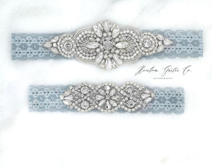 Wedding Garter, NO SLIP Lace Wedding Garter Set, Blue bridal garter set, vintage rhinestones, pearl and rhinestone garter set D04S-DO2S