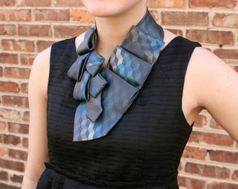 Necktie Scarf - Office Wear - Gift For Mom - Upcycled Tie - Hipster Scarf - Teal and Grey Lauren Scarf. 28