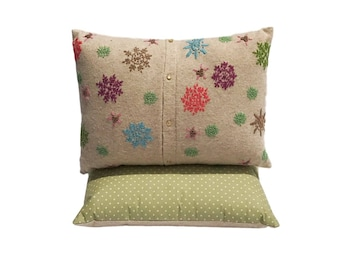 Snowflake or Flower Upcycled Throw Pillow - Shabby Chic Pillow - Cottage Chic Decor - bed - couch pillow - chair pillow - art pillow