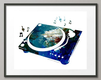 Fine Art Print DJ Turntable Club Music Instrumental Acrylic Painting Abstract Contemporary Modern Elena