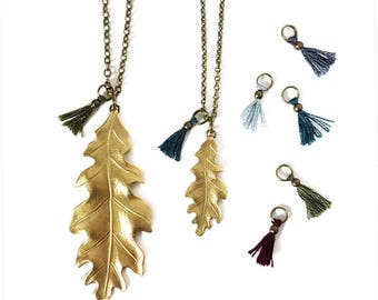 Brass Fall Leaf Necklace with Tiny Tassel, Oak Leaf, Antiqued Brass Chain, Fall Statement Jewelry, Leaf Jewelry, Large, Small, Multicolor