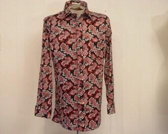 Vintage clothing, vintage 1970s shirt, Disco shirt, vintage 1970s shirt, retro shirt, paisley shirt, vintage clothing, L
