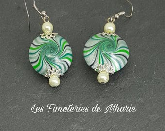 Earrings in dough polmyere beads gradient green swirl