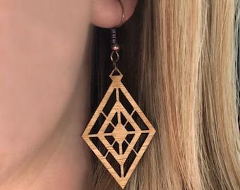 GEOMETRIC DIAMONDS // Bamboo Dangle Earrings // Wood Laser Cut Jewelry
