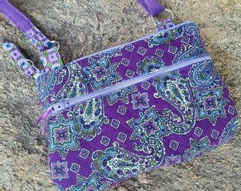 Purple  Quilted Crossbody Bag, Paisley Hipster, Purple Messenger Bag with Optional Accessories