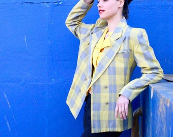 French Vintage 80's yellow plaid tailored blazer/ Summer Spring fitted padded tartan checkered button up jacket 1980s boyish / Size M Large
