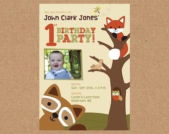 Woodland Birthday Invitation, 1st Birthday Boy Invitation, Lambs and Ivy Echo, Gender Neutral