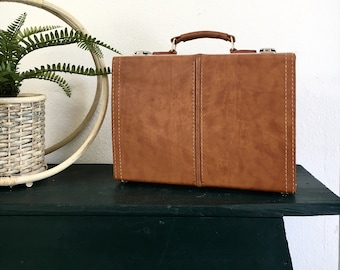 1970s Brown and Mustard Yellow Case Cassette Organizer Briefcase Bag Luggage original lock and key included