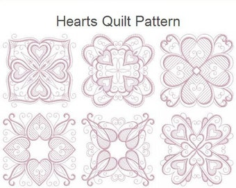 Hearts Quilt Pattern Machine Embroidery Designs Instant Download 4x4 5x5 6x6 hoop 10 designs APE2349