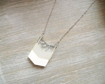 Chevron necklace, Long necklace,  Ombre  white necklace, Geometric necklace, pendant necklace