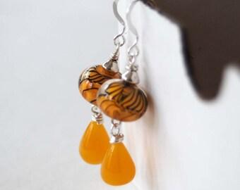 Yellow Earrings, Lampwork Glass Earrings, Teardrop Earrings, Wire Wrapped Earrings, Beaded Earrings