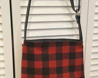 buffalo plaid Crossbody bag, tartan, genuine leather, adjustable strap, crossbody leather bag, black leather bag, red plaid, buffalo check