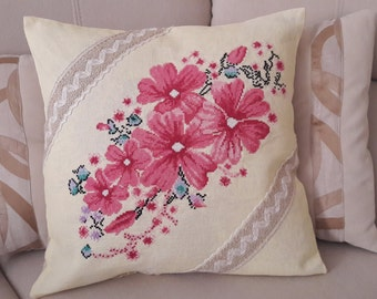 Embroidered pillowcase, decorated pillowslip,cross stich, hand embroidery