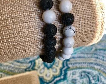 Yin & Yang Lava Rock Diffuser Bracelet Set