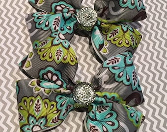 Teal, Lime Green, and Grey Pigtail Bows
