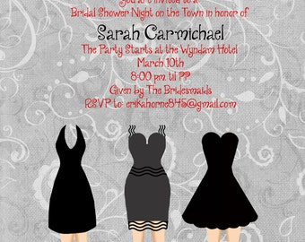 Little Black Dress/Bridal Shower Invitation/Shoes/Girlfriends/Night Out/Wedding