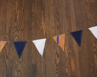 Perfect Pennant Banner in Gold, Blue and White