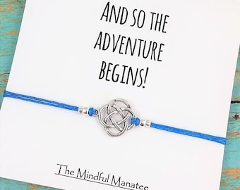 Graduation Gift | Friendship Bracelet | And So the Adventure Begins Card | Going Away Gift | Best Friend Bracelet | Gift for Graduate