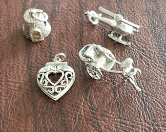 Vintage Sterling Silver Mechanical/Movable Charms:  Buy One for 13 Dollars, or Buy All 4 Charms for 47 Dollars