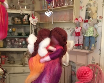 Magical Needle Felted Waldorf Style Fairy Mother and Child with Glass Beads and Diamante Mum Silver Heart Charm