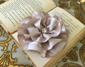 Taupe Flower Brooch.Taupe Flower hair clip.headpiece.bridal hair piece.wedding hair accessory.Taupe fascinator.bridal sash flower.Large
