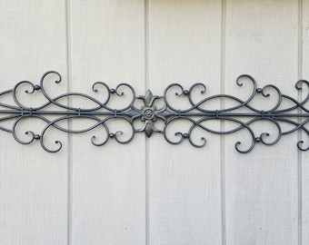 Beautiful Wrought Iron Wall Art / Metal Wall Art / Large Metal Wall Art / Large Wrought  Iron Wall Decor / Metal Wall Decor / Fluer De Lis Wall Decor