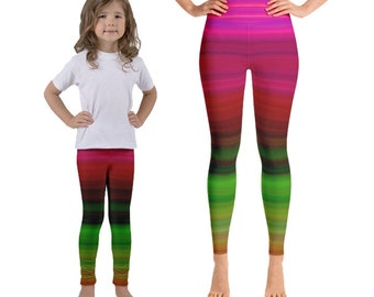 Mommy and Me Striped Yoga Pants |Colorful yoga pants| rainbow leggings|colorful leggings |matching leggings |funky leggings |mother daughter
